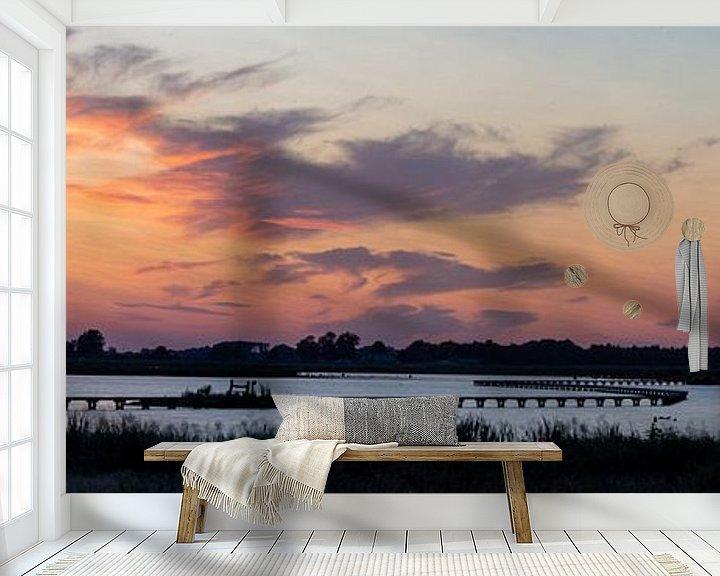 Beispiel fototapete: Panorama des hölzernen Laufstegs von Anjo ten Kate