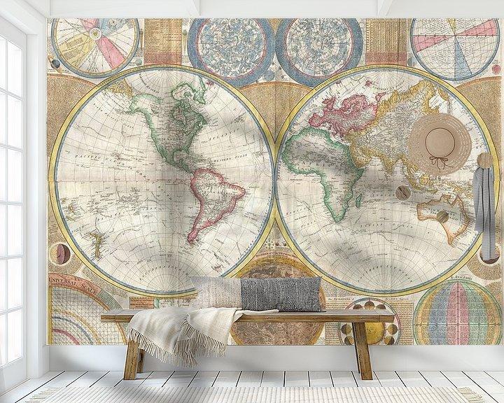 Sfeerimpressie behang: Kaart van de wereld 1794 van Atelier Liesjes