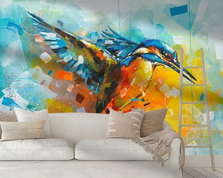 Beispiel fototapete: Eisvogel Malerei von Jos Hoppenbrouwers
