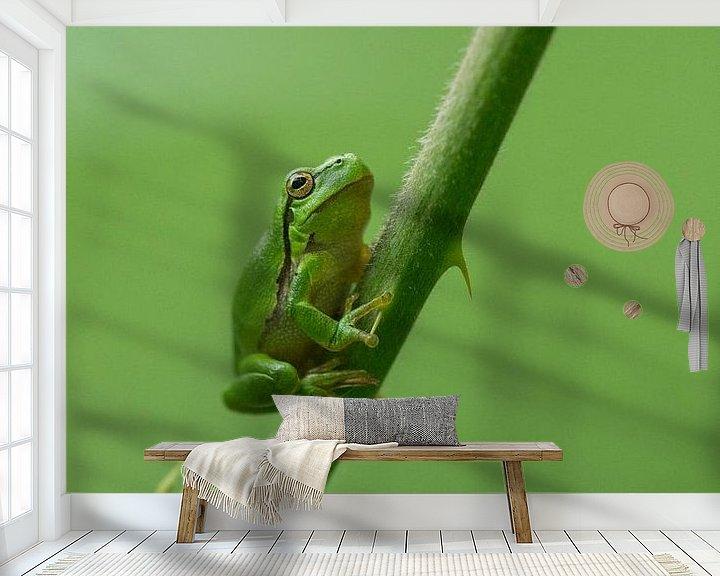 Beispiel fototapete: Baumfrosch versteckt zwischen den Brombeersträuchern in der Achterhoek von Jeroen Stel