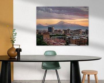 Ararat zonsondergang Jerevan (Armenië) van Stijn Cleynhens