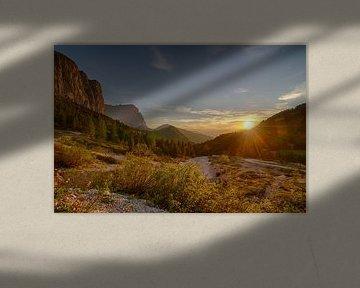 Zonsondergang in Val Gardena van Bas Oosterom