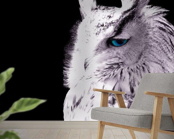 Sfeerimpressie behang: Uilen jagen 's nachts van Tanja Riedel