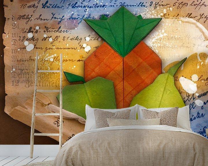 Beispiel fototapete: Origami trifft Küche - Ananas von Erich Krätschmer