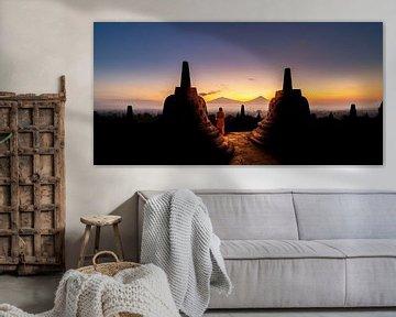 Borobudur sunrise van Lex Scholten