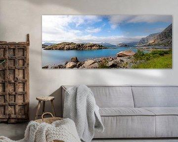 Panoramablick auf die Küstenlandschaftsschönheit des Lofoten-Archipels, Austvagoya-Insel, Vestfjorde von Mieneke Andeweg-van Rijn