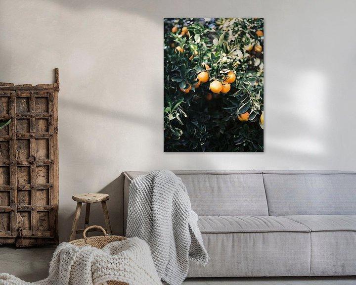 Sfeerimpressie: Sinaasappelen | Moody kleurrijke reisfotografie | Botanische groene muur met sinaasappelen van Raisa Zwart