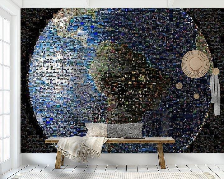 Sfeerimpressie behang: Aarde als mozaïek, van Nasa van Atelier Liesjes