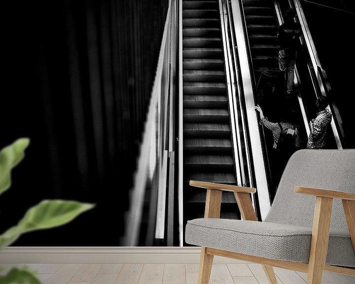 Sfeerimpressie behang: roltrap 2 van Bart Rondeel