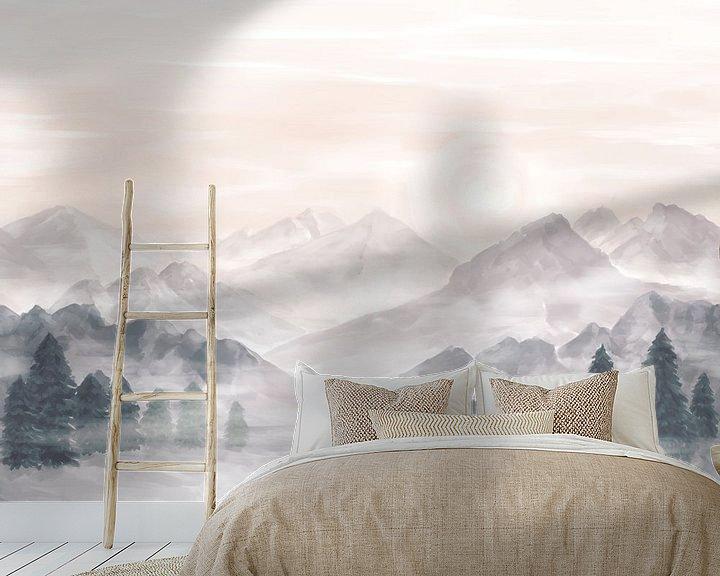 Sfeerimpressie behang: Mist in de bergen van Petra van Berkum