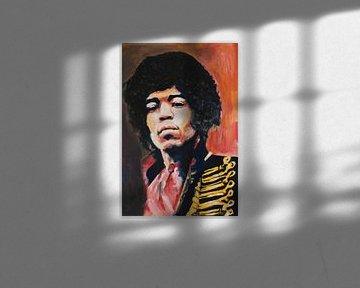 Jimi Hendrix Porträtmalerei von Angela Peters