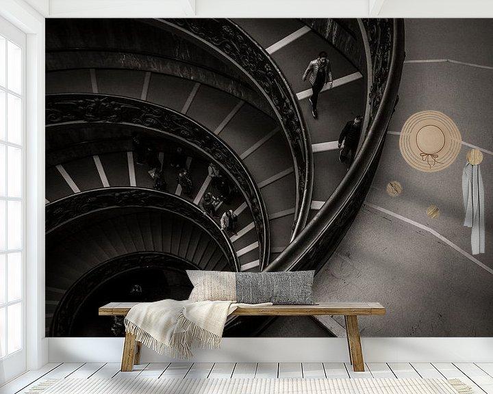 Sfeerimpressie behang: Zwart-wit Vaticaan, Rome, Italië van Jessie Jansen