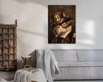 Steampunk kat van Babette van den Berg