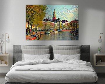 Schilderij Groningen: Hoge der Aa in de stijl van Picasso