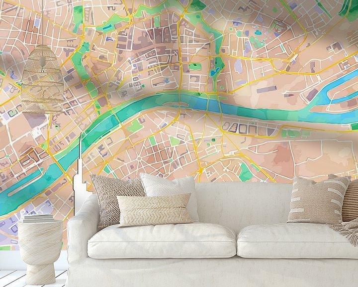 Sfeerimpressie behang: Frankfurt am Main van Printed Artings