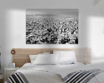 Architecture ville du monde Athènes ville d'Athènes ville d'Athènes en noir et blanc sur Marianne van der Zee