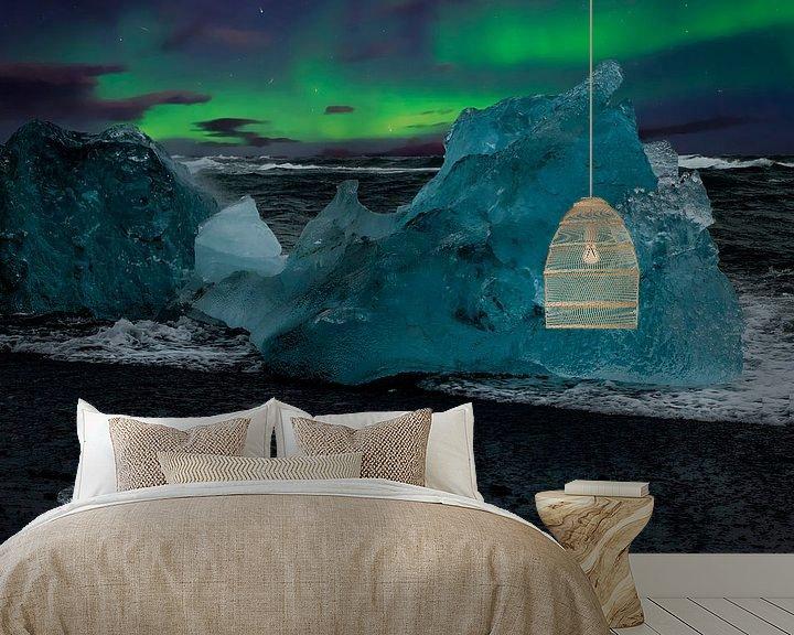 Beispiel fototapete: Nordlicht und blaues Eis auf Island von Gert Hilbink