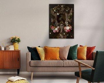 Büste von Constantijn Huygens umgeben von einer Blumenkrone, Daniel Seghers, Jan Cossiers