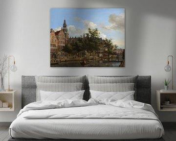 Gezicht op de Oudezijds Voorburgwal met de Oude Kerk in Amsterdam, Jan van der Heyden