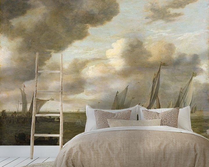 Beispiel fototapete: Mündung mit Segelbooten, Jan van Goyen