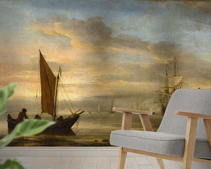 Beispiel fototapete: Sonnenuntergang auf See, Willem van de Velde der Jüngere