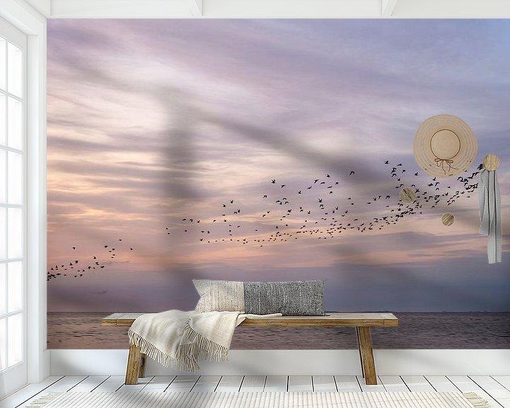 Beispiel fototapete: Ein Vogelschwarm an einem schönen Himmel von Barbara Brolsma