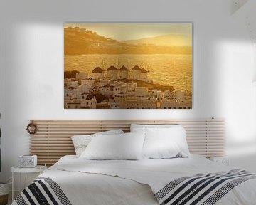 Mykonos - windmolens in het gouden licht van Ralf Lehmann