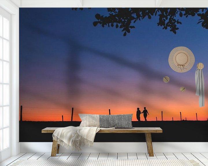Sfeerimpressie behang: Avondwandeling van Marco van den Arend