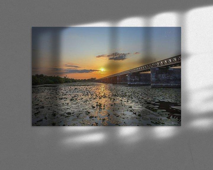 Sfeerimpressie: Zonsondergang bij de Moerputtenbrug van Ans Bastiaanssen