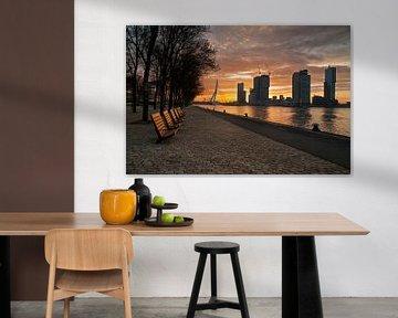 Rotterdam met zonsopkomst van Erik van 't Hof