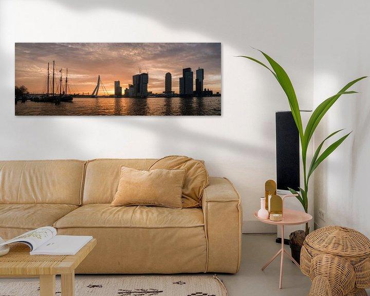 Sfeerimpressie: Rotterdam Panorama in de ochtendzon (maas met erasmusbrug) van Erik van 't Hof