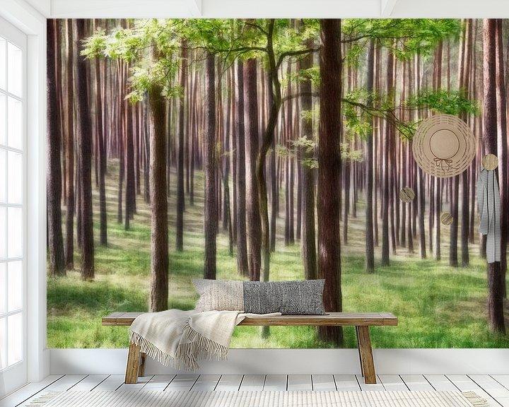 Sfeerimpressie behang: Bomen in het groen van Marcel van Balken