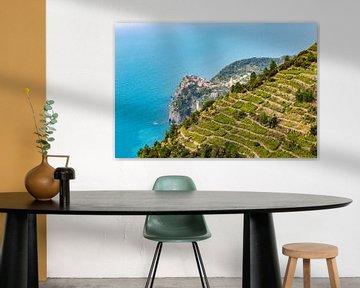 Vernazza tussen de wijngaarden, Cinque Terre