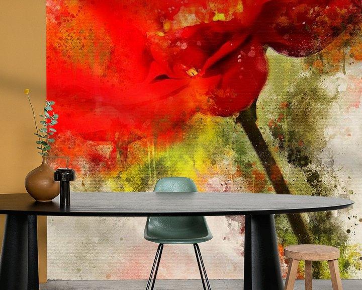 Sfeerimpressie behang: Rode gerbera van Sharon Harthoorn