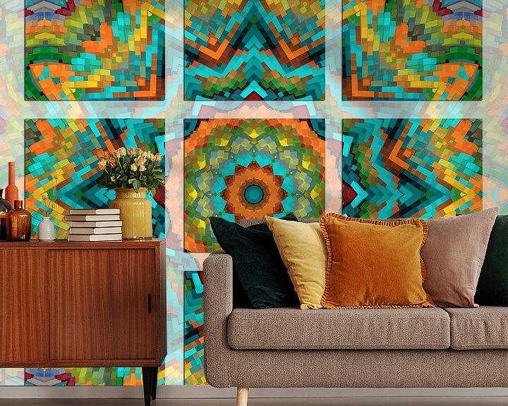 Sfeerimpressie behang: Kleurrijk Mandala van Marion Tenbergen