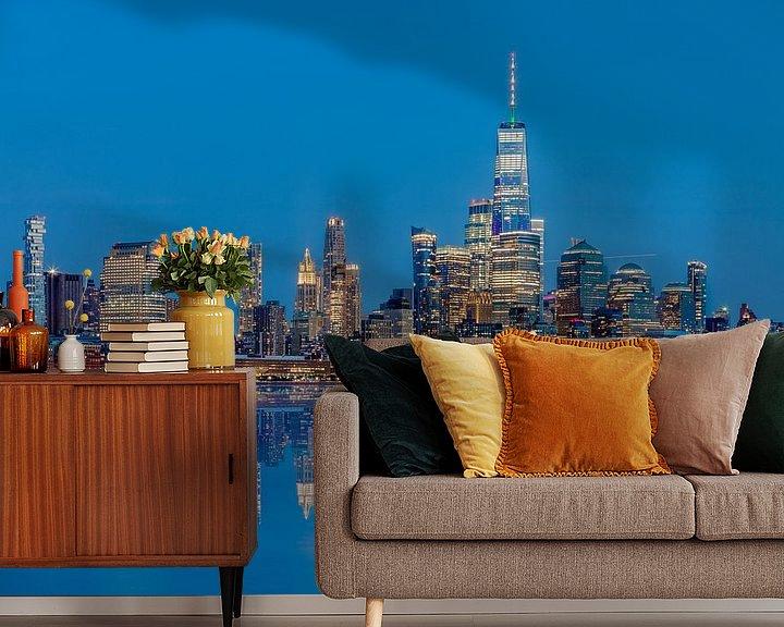 Impression: Manhattan Skyline avec une réflexion de Hoboken, New Jersey sur Jan van Dasler