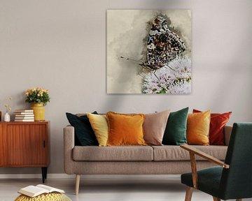 Atalanta-Schmetterling mit geschlossenen Flügeln (Kunst) von Art by Jeronimo