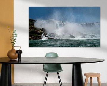 Aanzicht op de Horseshoe waterval in de Niagarawatervallen van op het water van Ed Steenhoek