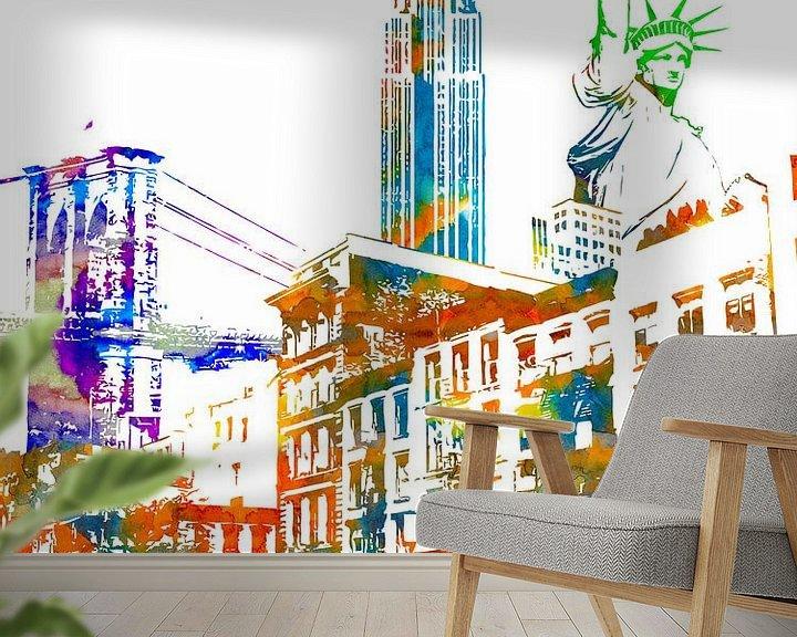 Sfeerimpressie behang: New York City van Printed Artings