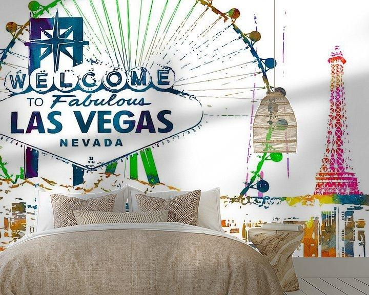 Sfeerimpressie behang: Las Vegas van Printed Artings