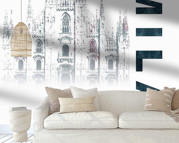 Sfeerimpressie behang: Milaan van Printed Artings