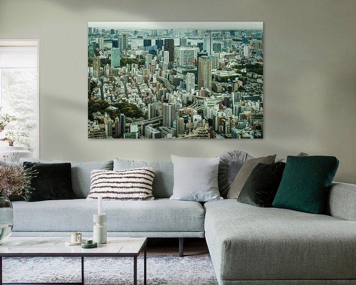 Sfeerimpressie: De Tokio (Tokyo) skyline met hoog contrast. van Claudio Duarte