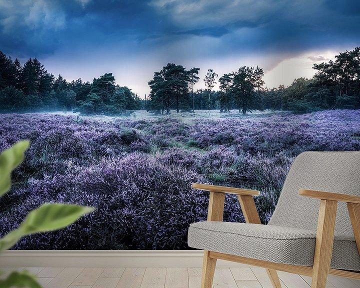Sfeerimpressie behang: Heideveld in Den Treek-Henschoten van Dannis van der Heiden