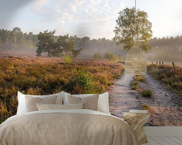 Sfeerimpressie behang: een prachtige ochtend op de heide in belgisch limburg van Fotografie Krist / Top Foto Vlaanderen