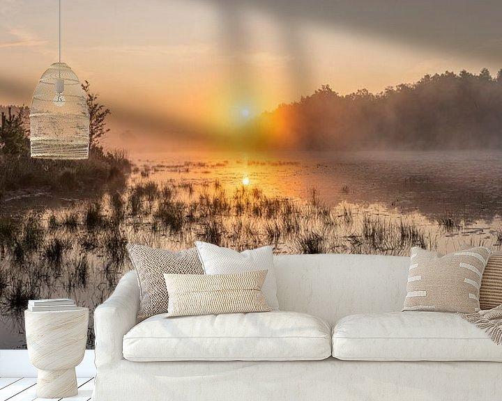 Impression: lever de soleil doré sur l'étang dans les bières du Limbourg, Belgique. sur Fotografie Krist / Top Foto Vlaanderen
