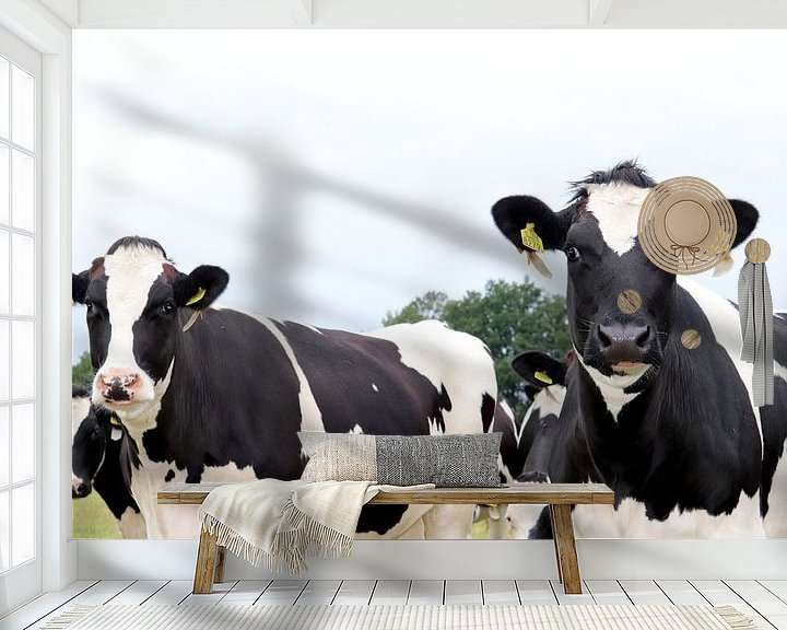 Sfeerimpressie behang: Koeien van Simon E
