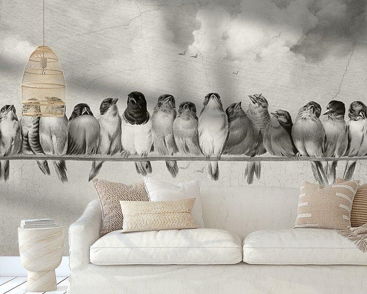 Sfeerimpressie behang: All the Pretty Birds van Marja van den Hurk