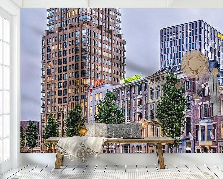 Sfeerimpressie behang: Wijnhaven in de schemering van Frans Blok