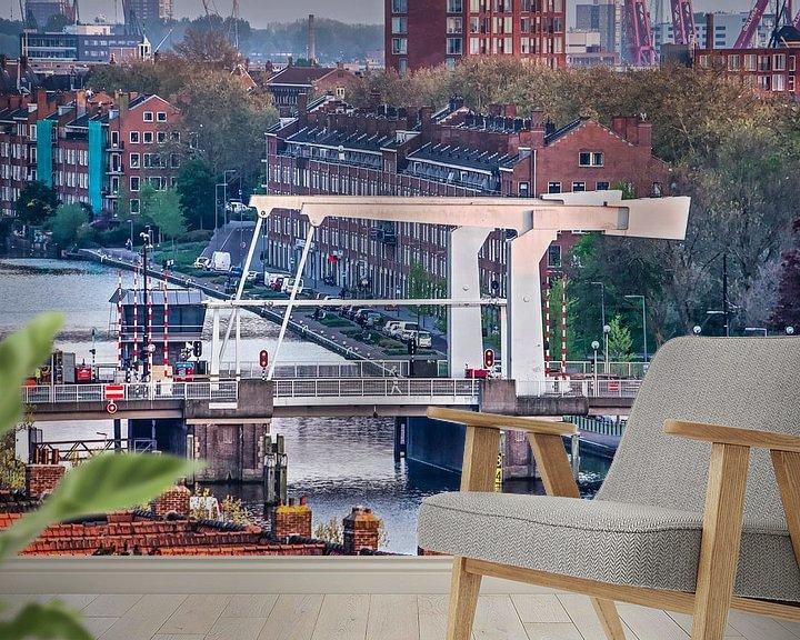 Sfeerimpressie behang: Rotterdam, Mathenesserbrug van Frans Blok