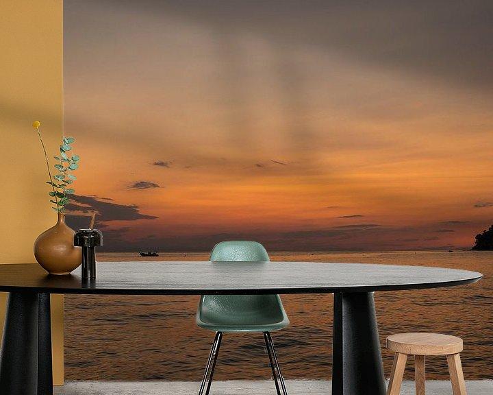 Sfeerimpressie behang: Zonsondergang Kassandra van Elly Damen